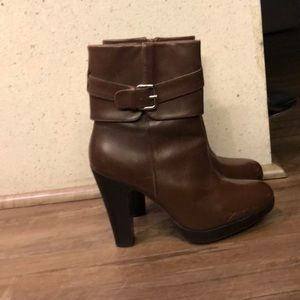 Zara leather heeled boots